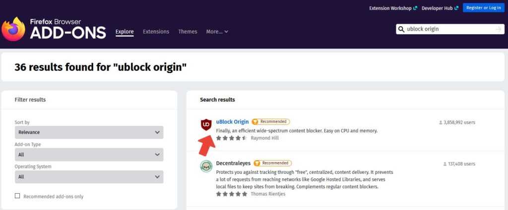 klik pada uBlock Origin di hasil pencarian